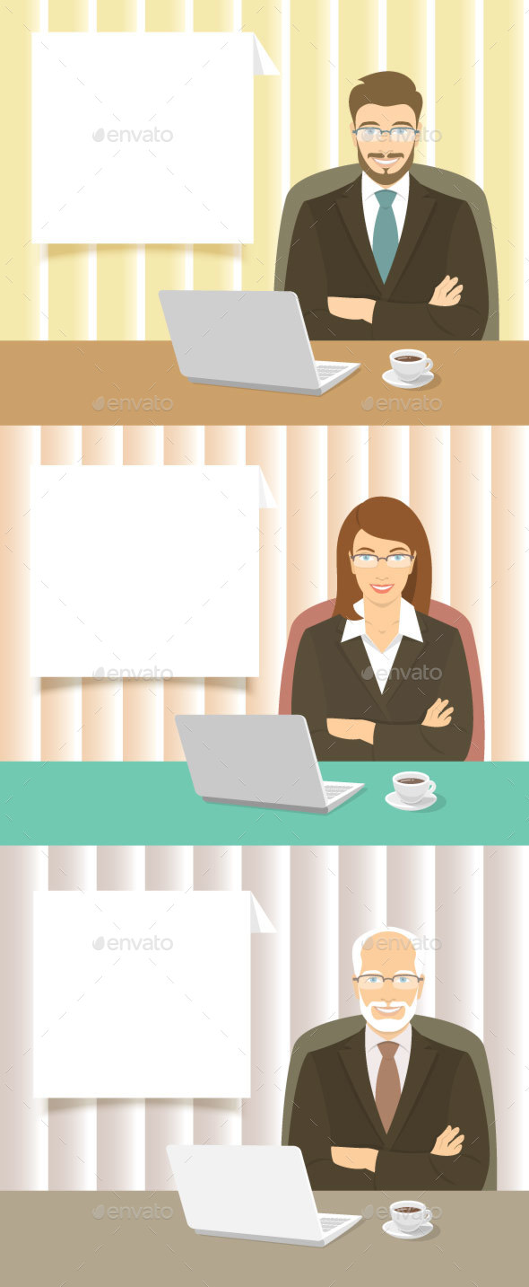 Businessman and Woman at the Office Desk - Backgrounds Business