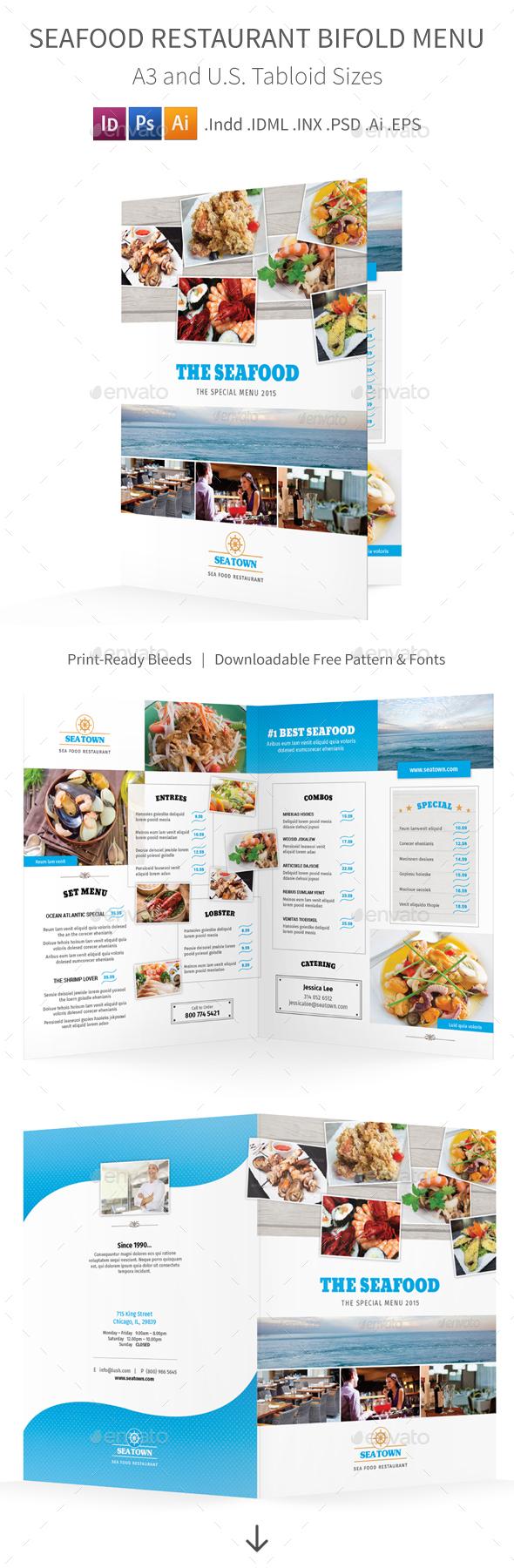 Seafood Restaurant Bifold Halffold Menu