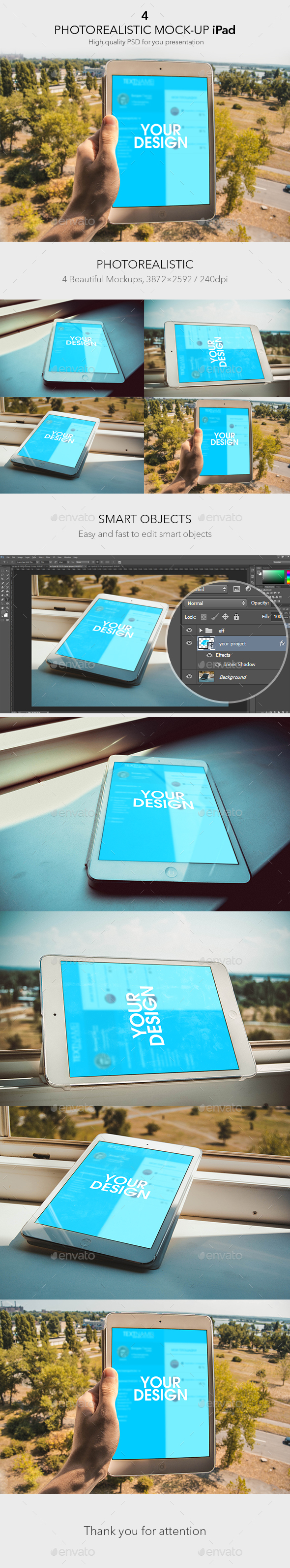 4 Photorealistic Mock-up iPad
