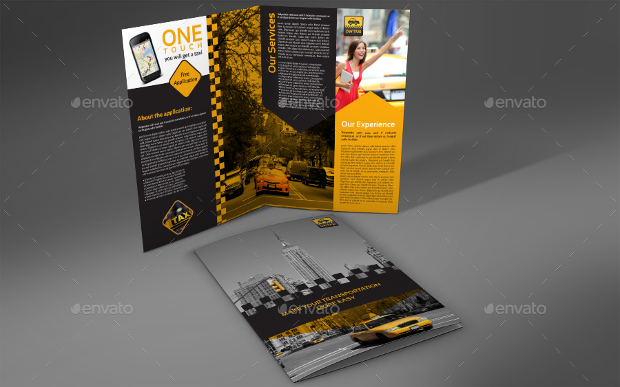 Taxi Services Bi-Fold Brochure Template by OWPictures | GraphicRiver
