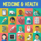 Medicine and Health Flat Icons with Long Shadow - GraphicRiver Item for Sale