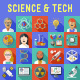 Science and Technology Flat Icons with Long Shadow - GraphicRiver Item for Sale