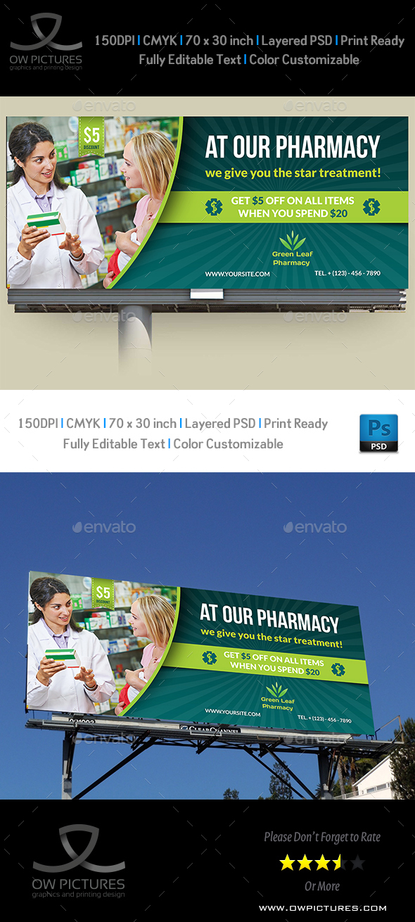 Pharmacy Billboard Template Vol.2 - Signage Print Templates