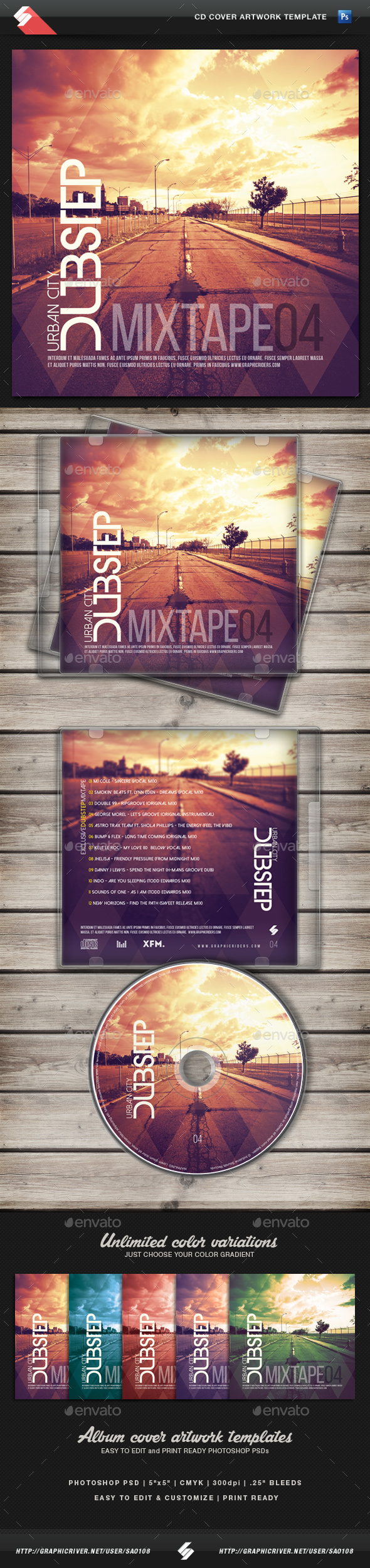 Urban City Dubstep vol.4 - CD Cover Template - CD & DVD Artwork Print Templates