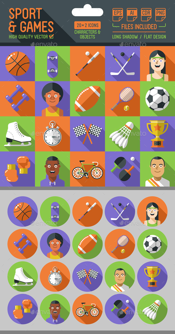 Sport and Games Flat Icons with Long Shadow - Miscellaneous Icons