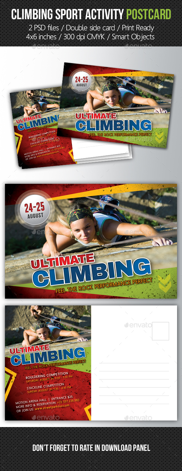 Climbing Sport Activity Postcard Template - Invitations Cards & Invites