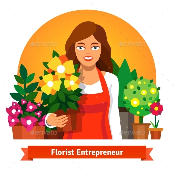 Florist Business Owner Holding a Pot Of Flowers - Concepts Business