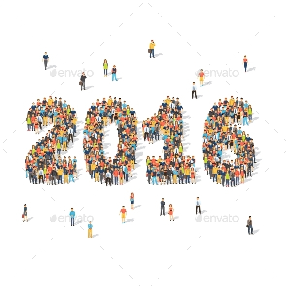 New Year Celebration Concept People Forming 2016