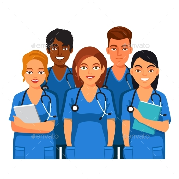 Group Of Medical Students, Nurses Or Interns - People Characters