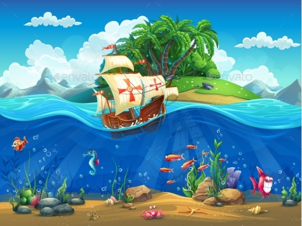 Cartoon Underwater World With Fish, Plants, Island - Landscapes Nature