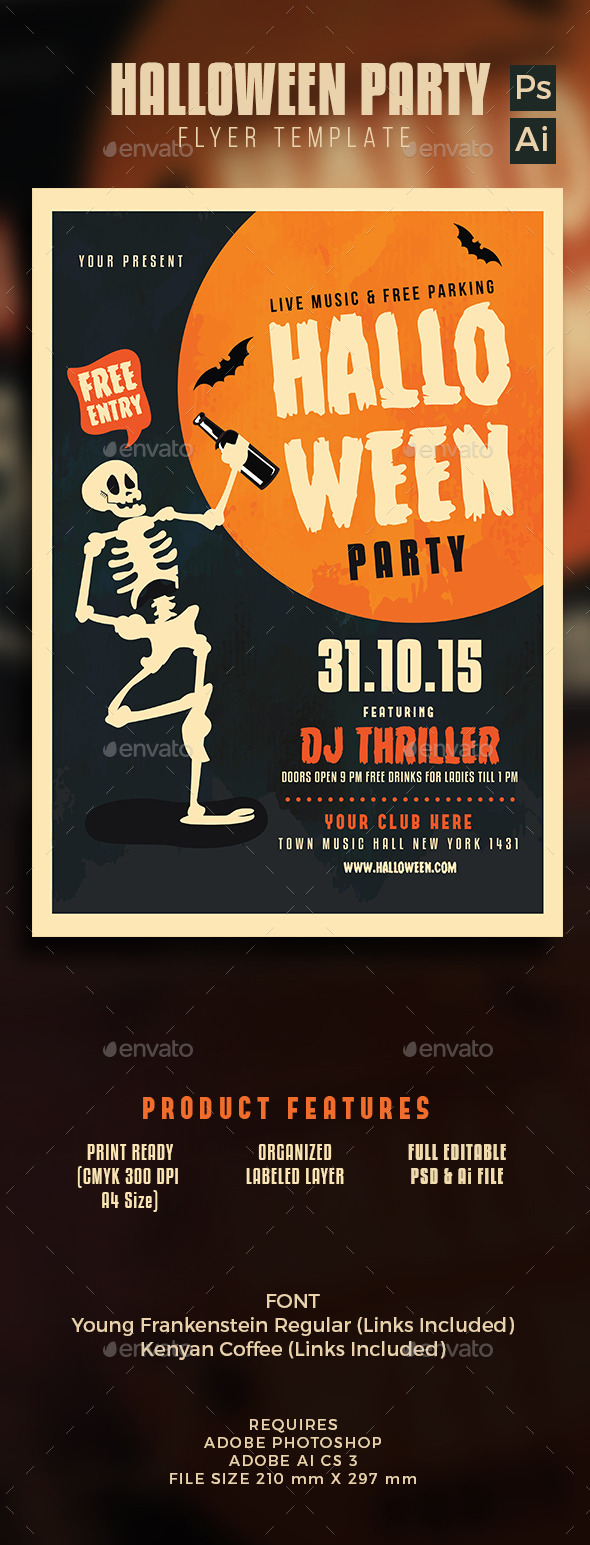 Halloween Skull Party - Events Flyers