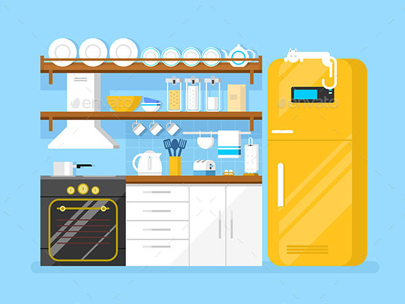 Kitchen Flat Style - Objects Vectors