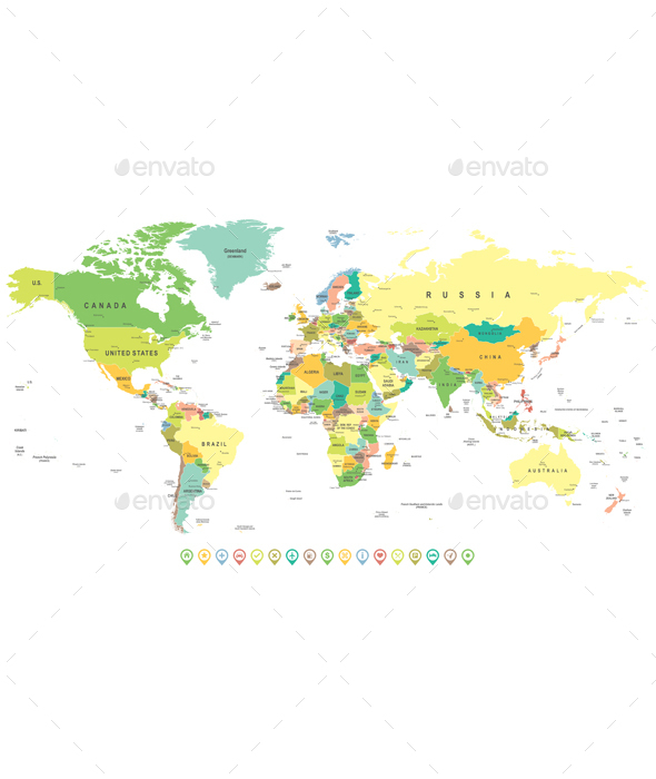 World Map and Set of Navigation Labels