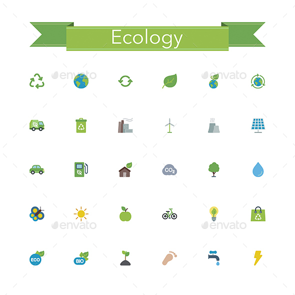Ecology Flat Icons - Objects Icons