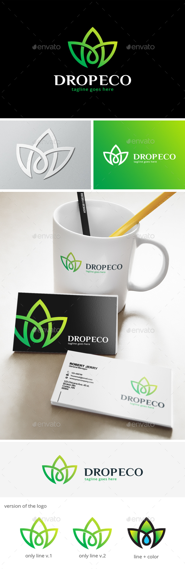 Drop Green Logo - Nature Logo Templates