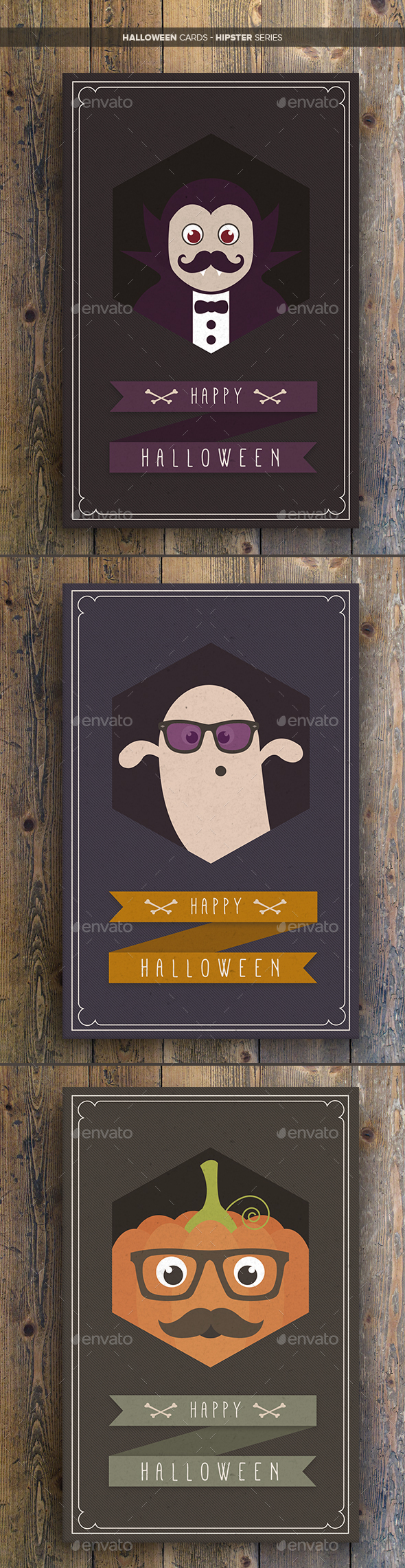 Halloween Cards Hipster Series