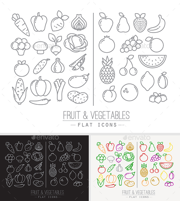 Fruits & Vegetables Icons - Food Objects
