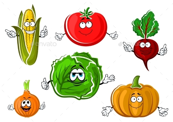 Happy Autumnal Vegetable Cartoon Characters - Food Objects