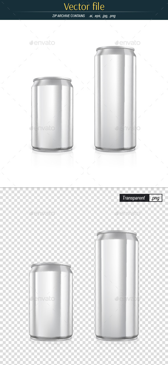 Blank Aluminum Cans Vector Template - Man-made Objects Objects