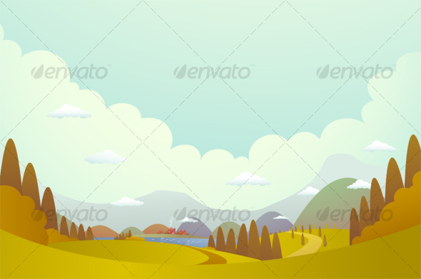 Hill and villages - Backgrounds Graphics