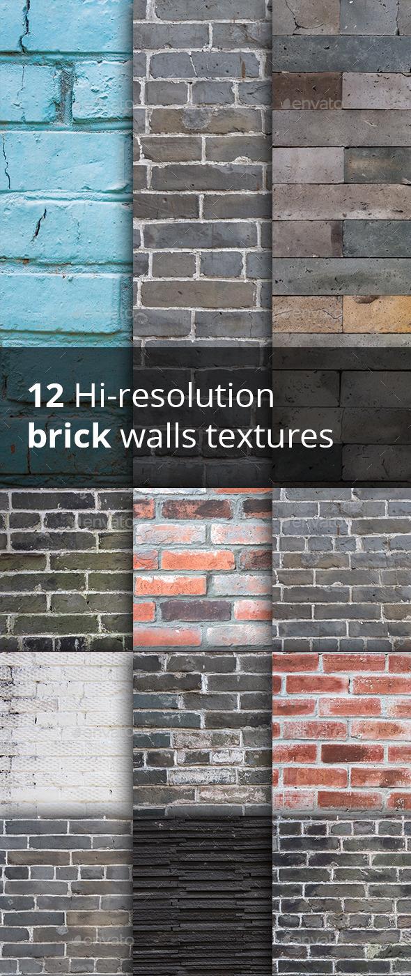 12 hi-res brick walls textures - Industrial / Grunge Textures