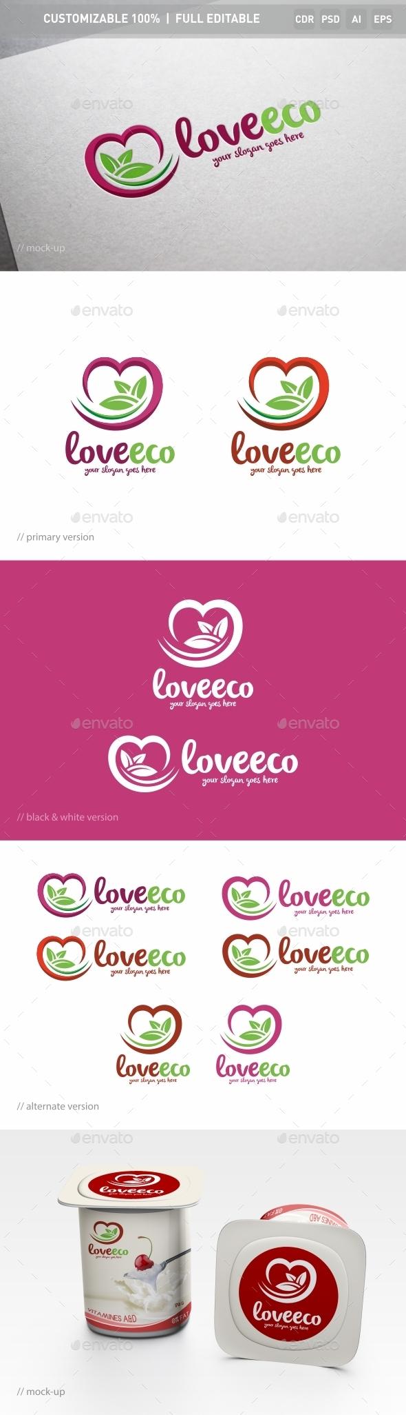 Love Eco Logo Template