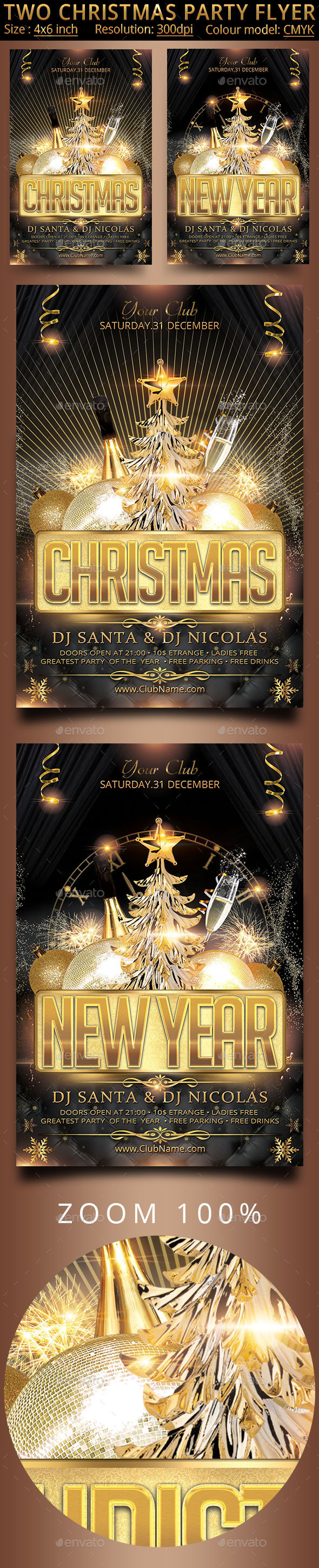 Two Christmas Party Flyer - Clubs & Parties Events