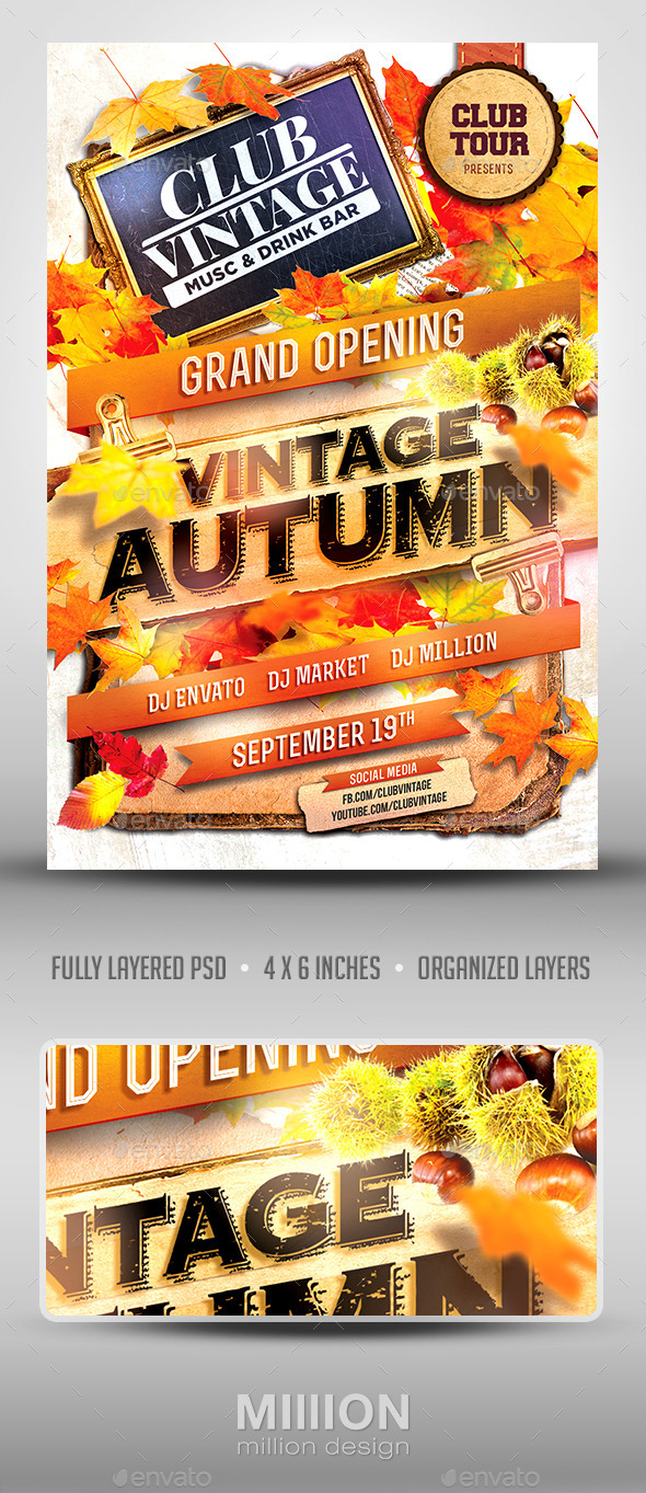 Vintage Autumn Party Flyer