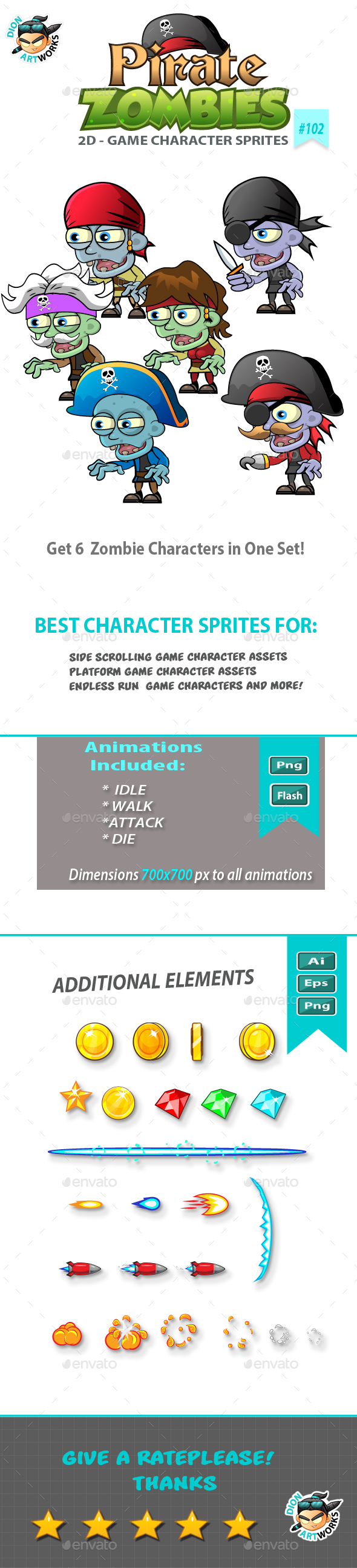 6 Pirate Zombies 2D Game Character Sprites