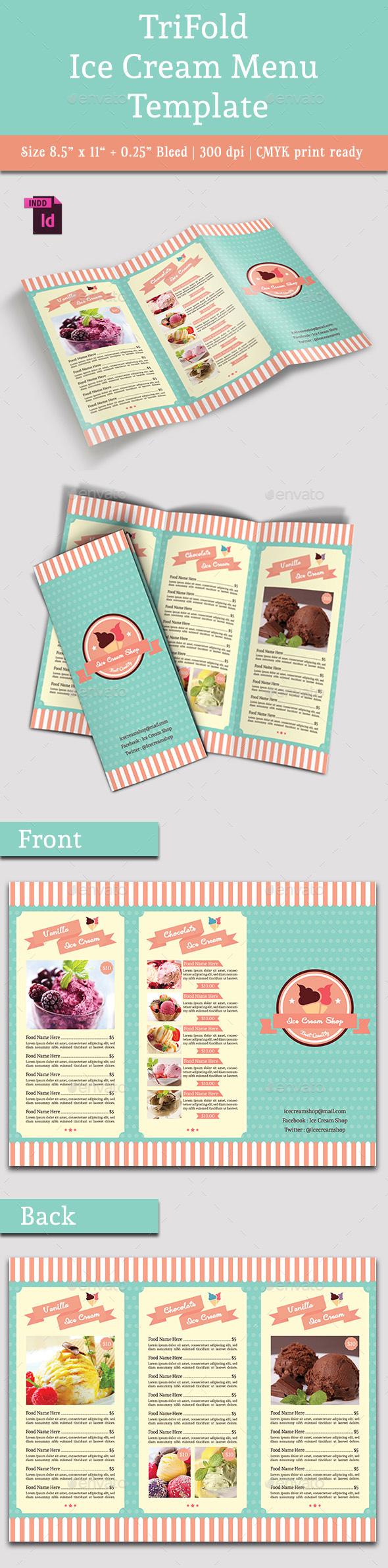 TriFold Ice Cream Menu Template Vol 2