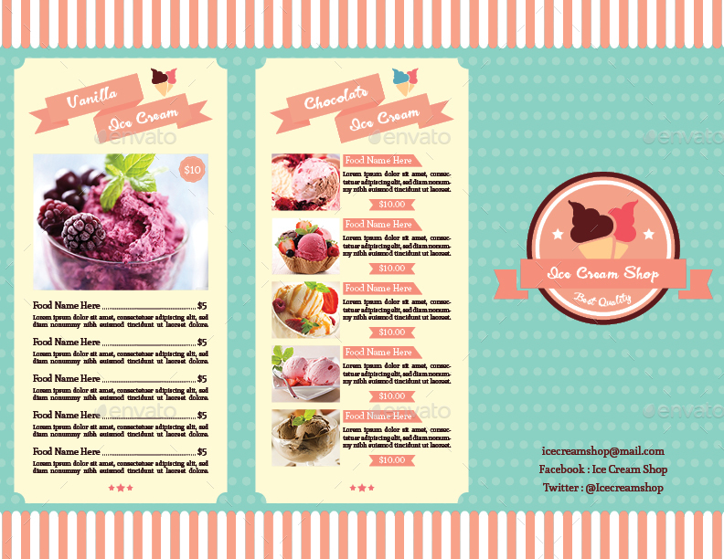 TriFold Ice Cream Menu Template Vol. 2 by avindaputri