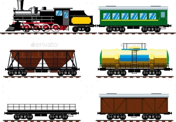 Old Steam Locomotive With Wagons - Travel Conceptual