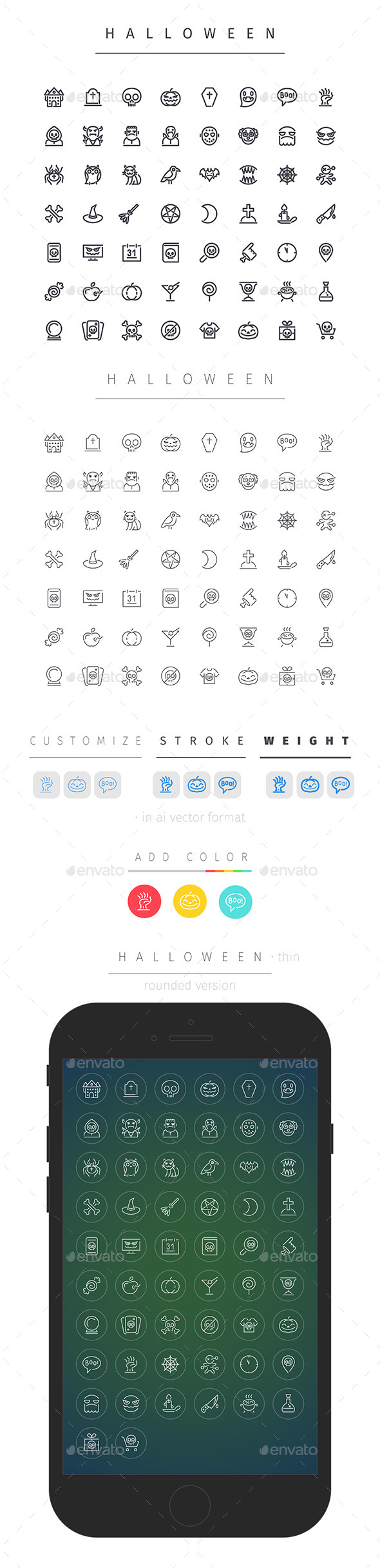 Halloween Line Icons Set - Seasonal Icons