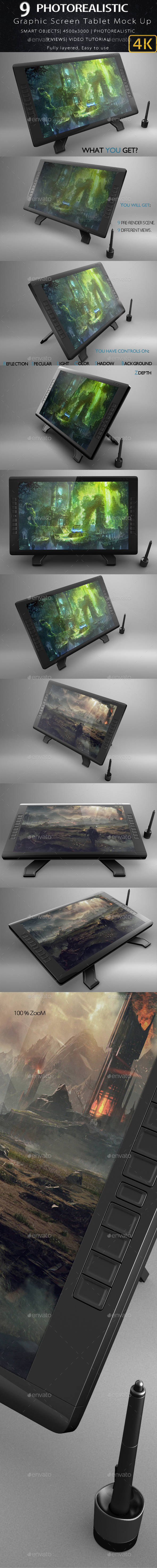 Graphic Screen Tablet Mock Up Volume 2 - Product Mock-Ups Graphics