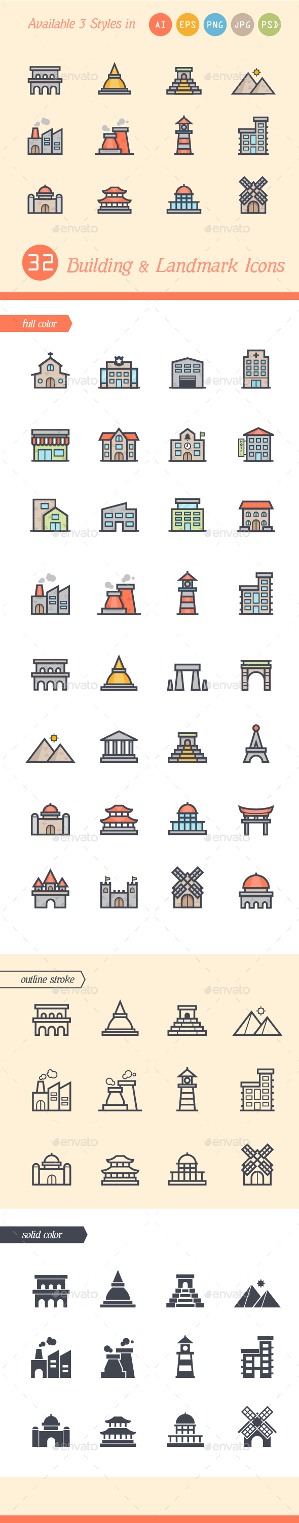 Set of 3 Styles Building and Landmark Icons