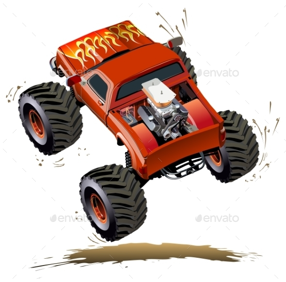 Monster truck kid cartoon