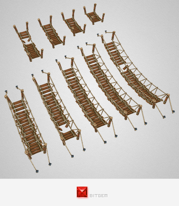 Low Poly Rope Bridge Set - 3DOcean Item for Sale