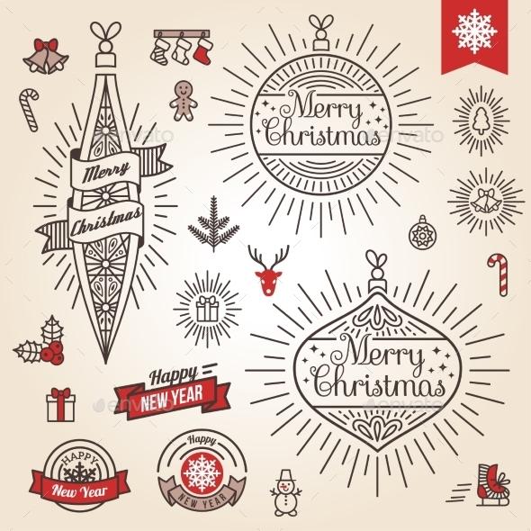 Christmas Set. Labels, Emblems And Other - Christmas Seasons/Holidays