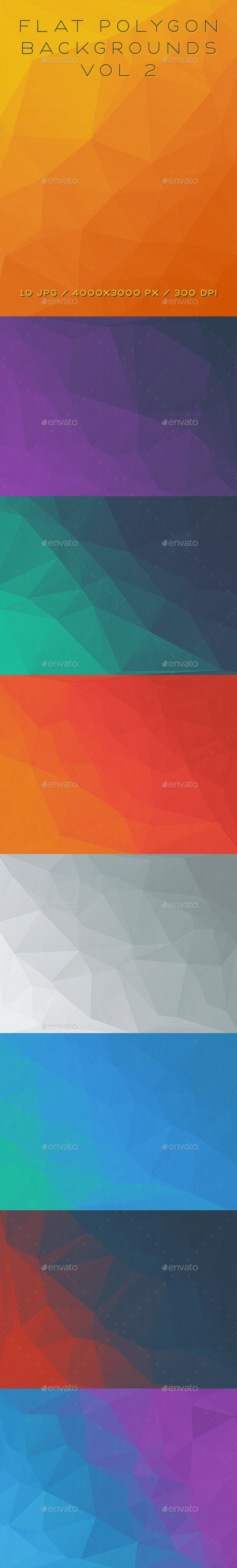 Flat Polygon Backgrounds Vol.2 - Abstract Backgrounds