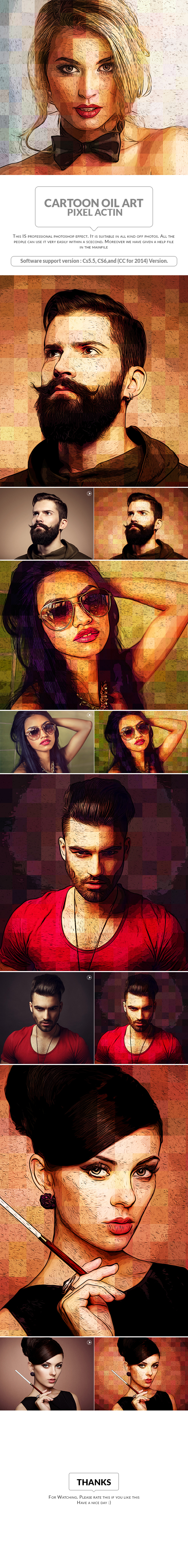 Cartoon Oil Art Pixel Action - Photo Effects Actions
