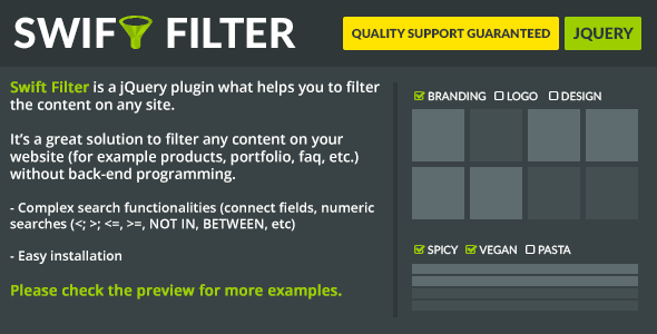Swift Filter jQuery Content Filter