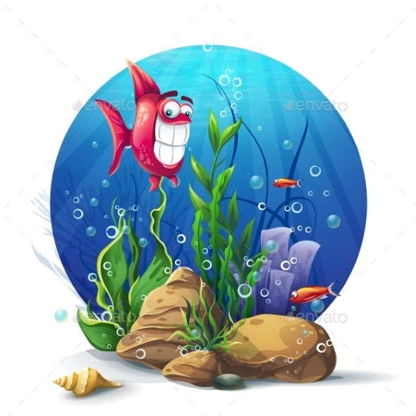 Illustration Of Underwater Rocks With Seaweed - Conceptual Vectors