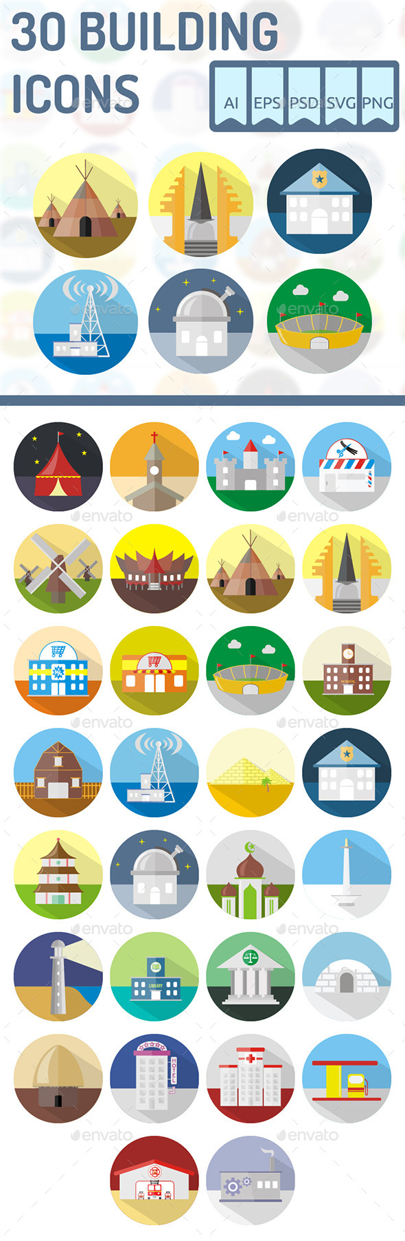 30 Building Icons - Buildings Objects