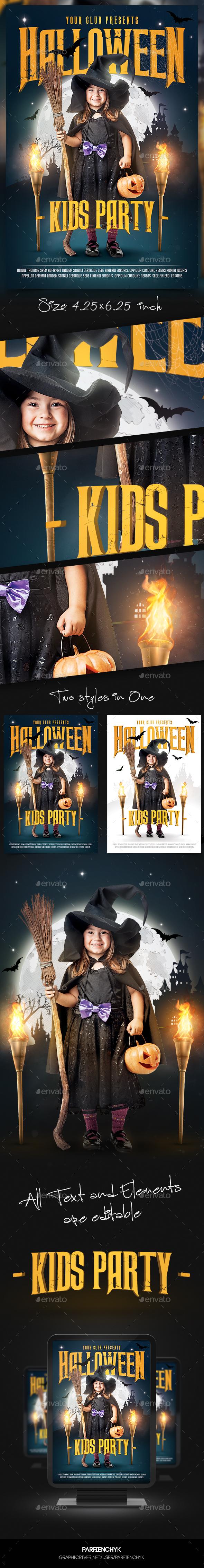 Kids Halloween Flyer Template - Clubs & Parties Events