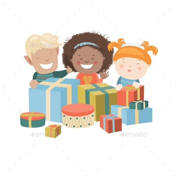 Illustration Of Kids Opening Christmas Gifts - Christmas Seasons/Holidays