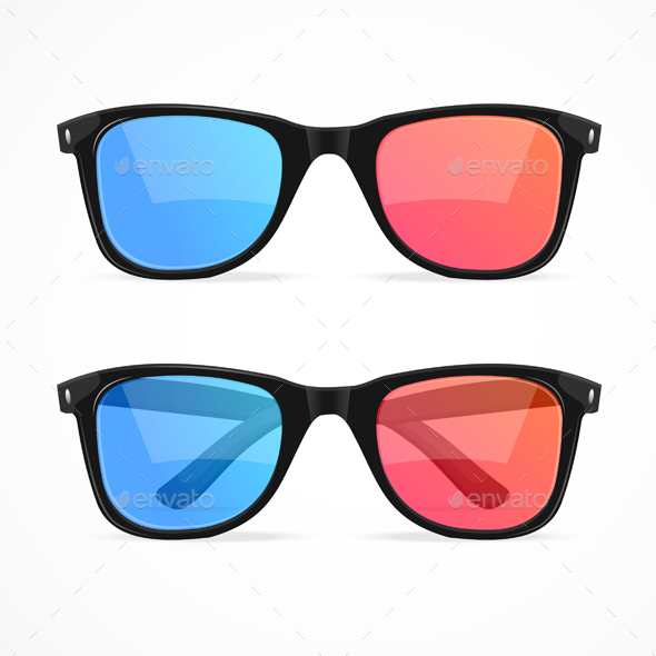 Glasses for Cinema Set Vector