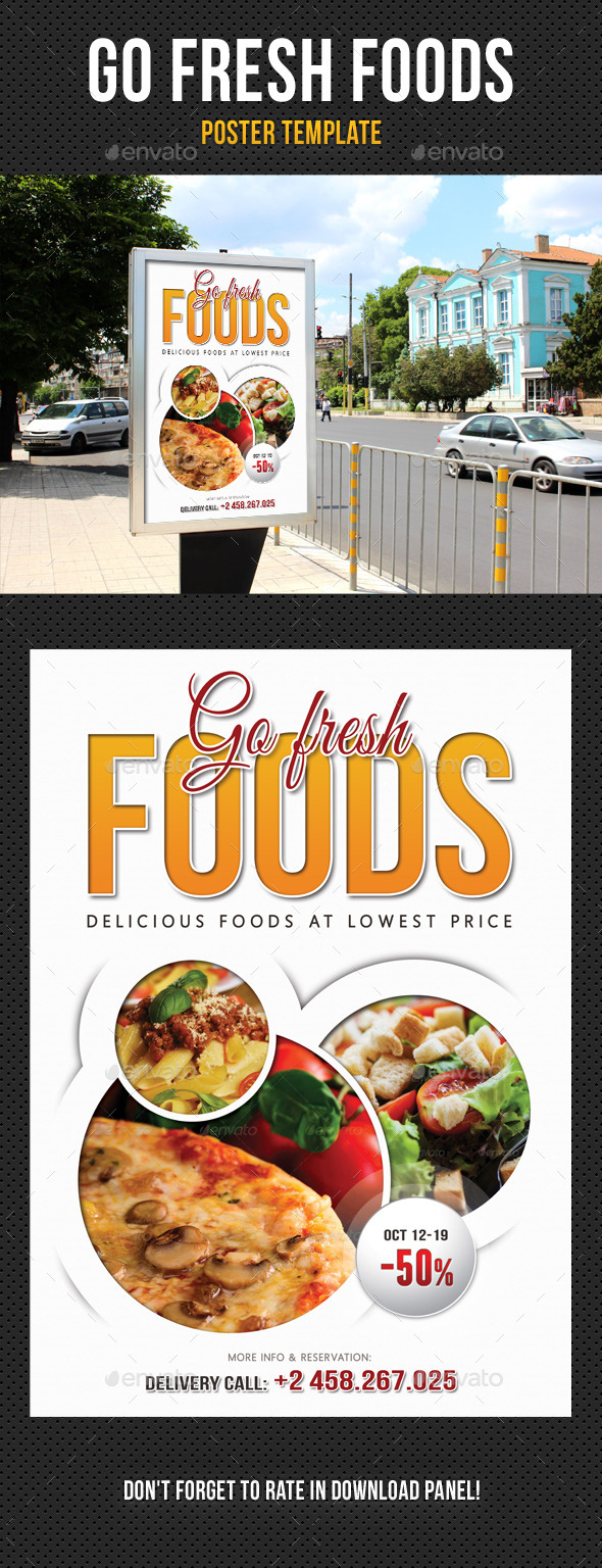 Go Fresh Food Poster Template - Signage Print Templates