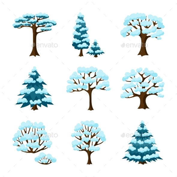Set Of Winter Abstract Stylized Trees. Natural - Seasons Nature