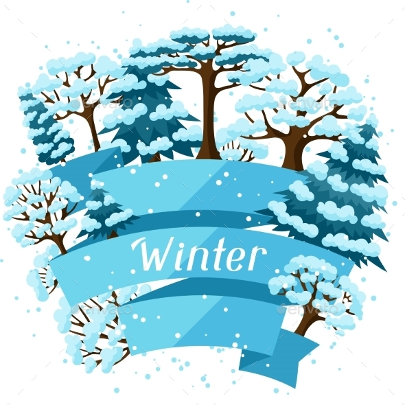 Winter Background Design With Abstract Stylized