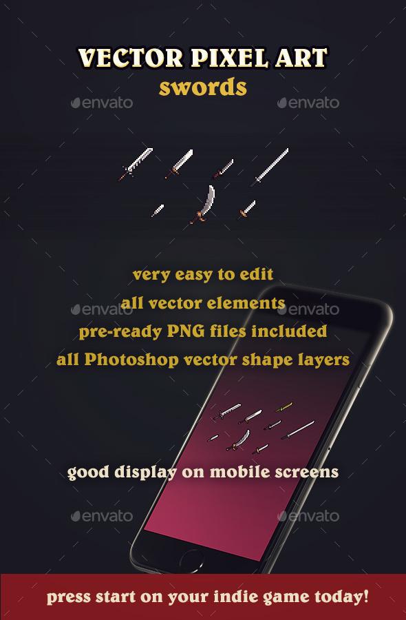 Vector Pixel Art Swords - Sprites Game Assets